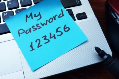 Easy Password concept.  My password 123456 written on a paper.